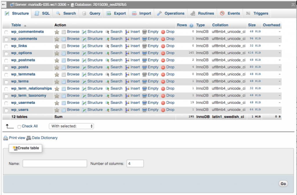 base de datos WordPress en phpMyAdmin