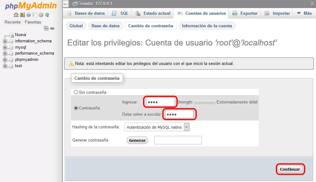 cambiar contraseña directamente en phpMyAdmin