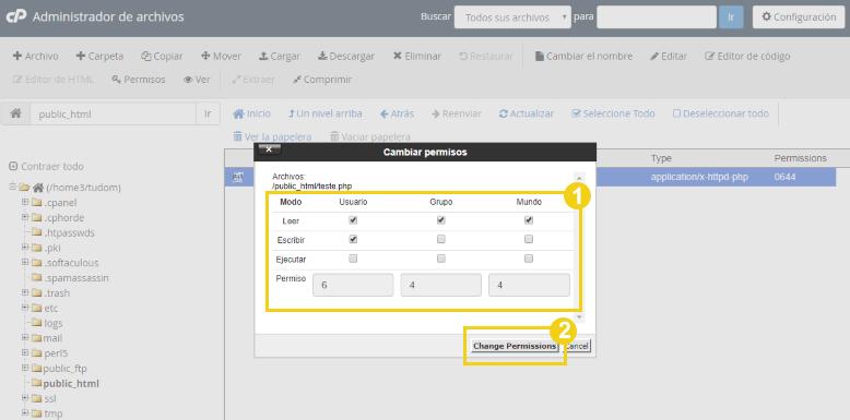 cambiar permisos de archivos de WordPress mediante un cPanel