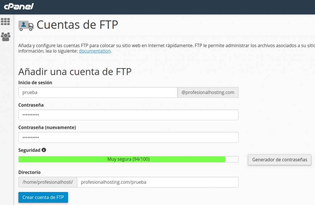 crear cuenta FTP en cPanel