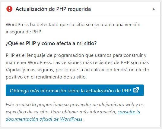 ejemplo de mensaje de actualización de PHP en WordPress