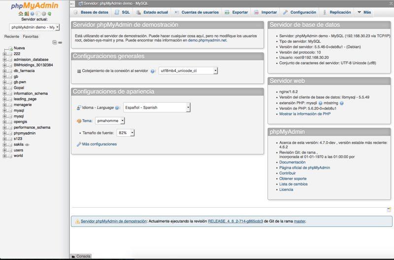 pantalla de inicio de phpMyAdmin
