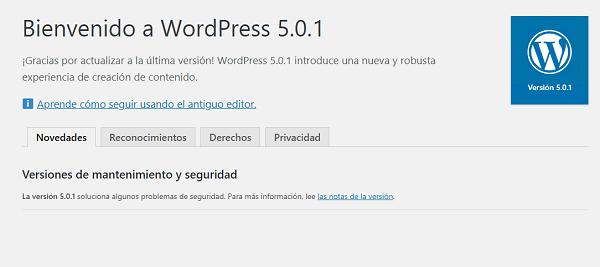 WordPress actualizado pantalla
